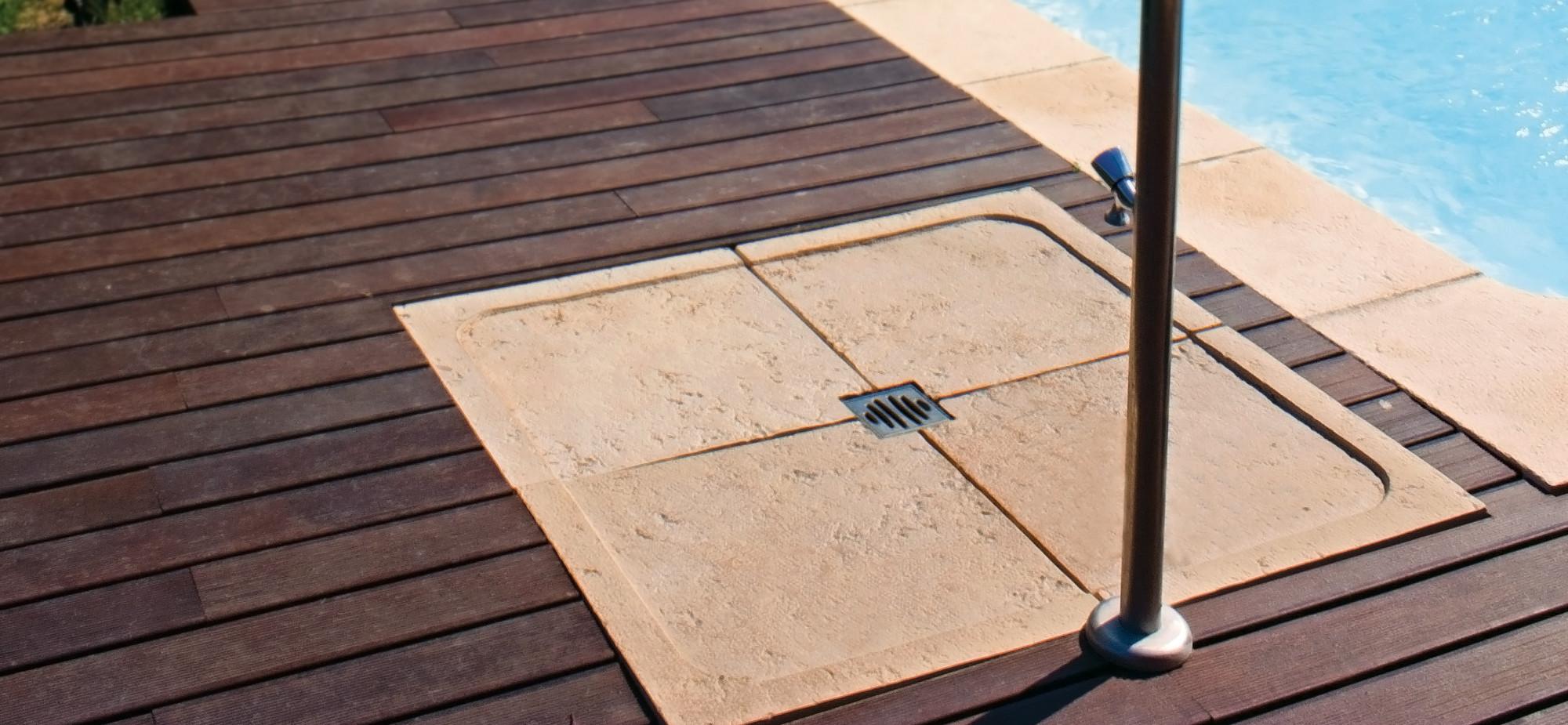 Base chuveiro fabistone pavimentos exteriores antiderrapantes - Duchas piscinas exterior ...